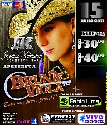 Uma das grandes promessas da música sertaneja raiz, Bruna Viola se apresentará nesta sexta-feira (15), na JK Acústico Bar, em Jaru. - 355ac0c537